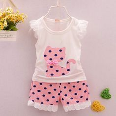 2016 summer Korean baby girls clothing set children bow cat shirt+shorts suit 2pcs kids polka dot clothes set suit with Free Shipping have discount 46.0% Off sales