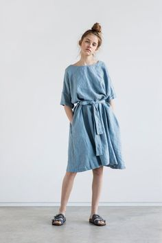 Washed and soft linen dress with sleeves. The dress is little A – line shape and can be wo ...