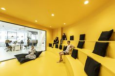 architecture's optical illusion colors creative agency office in prague - Office/Workspace Office Space Design, Office Interior Design, Office Interiors, Creative Office Space, Office Designs, Architecture Design, Architecture Office, Building Architecture, Concept Architecture