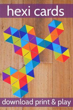 Free Printable Hexi Cards - lots of ways to play Indoor Activities For Kids, Preschool Activities, Crafts For Kids, Indoor Games, Math Crafts, Summer Activities, Outdoor Activities, Kindergarten Math, Teaching Math