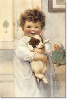 Gutmann, Bessie Pease - Bessie Pease Gutmann - Peter Thinks His Dog Jake is Better Than Any Toy Could Ever be Painting Vintage Artwork, Vintage Prints, Vintage Pictures, Vintage Images, Bessie Pease Gutmann, Vintage Postcards, Vintage Signs, Vintage Children, Illustrators