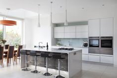Contemporary Collection   www.dillonskitchens.ie White Gloss Kitchen, Quartz Countertops, Kitchen Styling, Modern Design, Kitchens, Contemporary, Grey, Table, House