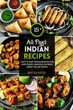 Easy and delicious Air Fryer Indian Recipes for appetizers, entree and side dishes, made with a fraction of the oil, with a ton of flavor. #airfrying #indianrecipes #airfryers Indian Appetizers, Healthy Appetizers, Appetizer Recipes, Dinner Recipes, Air Fryer Recipes Indian, Easy Indian Recipes, Ethnic Recipes, Tandoori Paneer, Tandoori Chicken