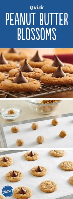 Quick Peanut Butter Blossoms: A holiday classic, these cookies are quick and simple, thanks to Pillsbury® refrigerated peanut butter cookies. Only three ingredients!