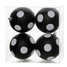 """4"""" Black-White Polka Dot Glitter Ball Christmas Ornament, 4 per Box"""