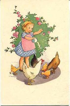 Martta Wendelin Vintage Children's Books, Vintage Artwork, Vintage Dolls, Vintage Postcards, Girl Face Drawing, Vintage Illustration Art, Rooster Art, Images Vintage, Vintage Easter