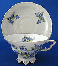 Vintage German Moderne Cup And Saucer  with Forget Me Nots