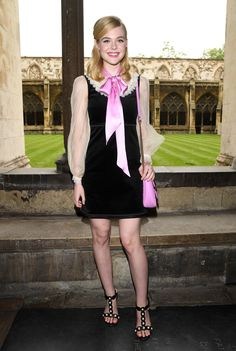 Elle Fanning attends the Gucci Cruise 2017 fashion show at the Cloisters of Westminster Abbey on June 2, 2016 in London, England.