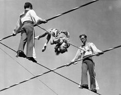 Members of the Wallenda family balance 90 feet above Sarasota, Fl. on March 19, 1942. The group was practicing at the Ringling Bros.' winter headquarters.