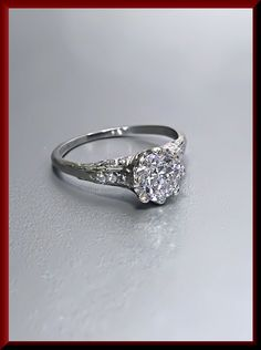 Vintage Art Deco Antique Engagement Ring Old by AntiqueJewelryNyc
