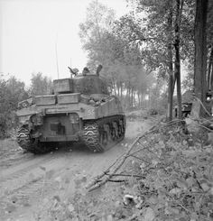 Sherman tank of Armoured Brigade moves forward in support of Derbyshire Yeomanry during fighting on the outskirts of St Michielsgestel, Holland, 24 October D Day Ww2, Normandy Ww2, Sherman Tank, British Army, British Tanks, Tank Destroyer, Ww2 Tanks, War Photography, World War One