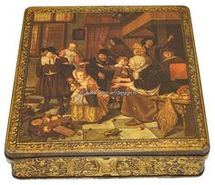 Vintage Tin DFB with painting  of Dutch Master Jan Steen Vintage tin DFB with painting Dutch Master Jan Steen.   Vintage tin with hinged lid. On the lid for decoration a painting of Dutch Master Jan Steen. 'Het Sinterklaasfeest'.  see: http://www.retro-en-design.co.uk/a-44111377/tins/vintage-tin-dfb-with-painting-of-dutch-master-jan-steen/