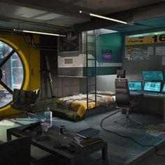 This is the room of a cyberpunk girl. She is a vendor, weapon trader and engineer, she sell weapon mods and weapon augmentations, she can modify and customize weapons. She is not legal so you don't find her in a shop or Spaceship Interior, Futuristic Interior, Futuristic Architecture, Futuristic Bedroom, Cyberpunk Kunst, Cyberpunk City, Room Interior, Interior Design, Sci Fi Environment