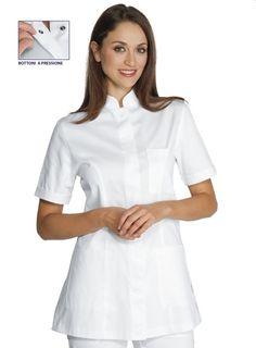 Camice a V per Medico Ospedale OSS Infermiere Bianco con Profili Rossi