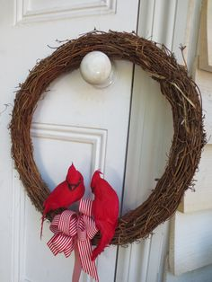 Christmas wreath with Jay birds