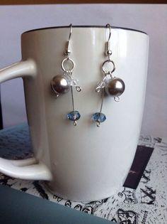 Blue Steel Beaded Earrings by JamesBrownCreations on Etsy