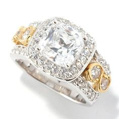126-601 - BELITA™ Platinum Embraced™ Brilliante® 3.48 DEW Two-Tone Cushion Cut Halo Ring