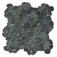 Show midnight black pebble tile