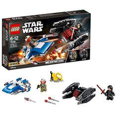 LEGO Star Wars A-wing Vs. Tie Silencer Microfighters 75196 Kylo Ren Last Jedi for sale online Lego Star Wars, Star Wars Toys, Tie Fighter, Lego Ninjago, Kylo Ren Figure, Starwars, Space Toys, All Lego, Lego War