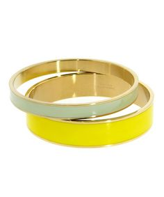 Yellow & Mint Stainless Steel & Gold Bangle Set #zulilyfinds #zulily! #bangle #bangles #yellow #mint #bracelets Buy Here: http://www.zulily.com/invite/hsconza677
