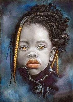 Dora Alis Mera, oil on linen, 2011 {contemporary figurative art beautiful female braids african girl. Pintura Graffiti, Portraits Pastel, Art Afro, Arte Black, Afrique Art, Figurative Kunst, Natural Hair Art, African Children, African Girl