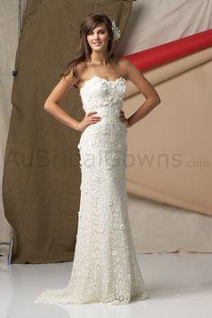 Crochet Wedding Dress | ... Wedding Gowns > Sheath Gowns > Cotton Crocheted Lace Strapless Wedding