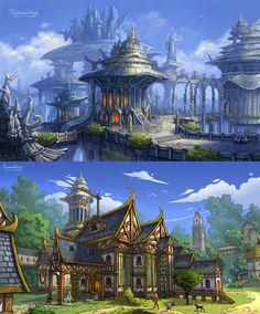 Glintadale: Silver Arch City and Bluemary Tavern by ~uriska on deviantART