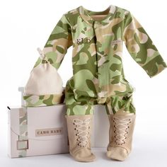 """""""Big Dreamzzz"""" Baby Camo Two-Piece Layette Set in """"Backpack"""" Gift Box dress your Little Trooper in this preciously comfortable Camo Baby sleeper from Favor Couture -Baby Aspen. He'll be suited up from head to toe with clever faux boots keep tootsies warm! Camo Baby Clothes, Camo Baby Stuff, Camo Outfits, Baby Boy Outfits, Kids Outfits, Toddler Outfits, Army Baby, Marine Baby, Camouflage Baby"""
