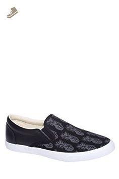 BucketFeet Women's Pineappleade Slip On Sneakers, Black, 7 B(M) US - Bucketfeet sneakers for women (*Amazon Partner-Link)
