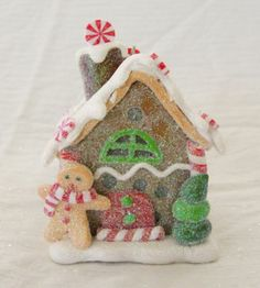 New Kurt Adler Gingerbread House Ornament With LED Light Red and White Scarf
