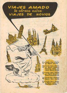 Viajes Amado le ofrece estos viajes de novios. A Coruña, 1959 Movie Posters, Vintage, Watercolor Painting, Pintura, Libraries, Zaragoza, Poster, Antigua, Film Poster
