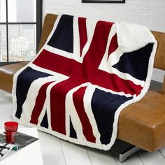 Rapport Union Jack Flag Super Soft Sherpa Throw, Red, 130 x 160 cm