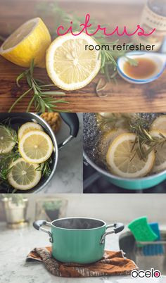 Our #simplesolution citrus room refresher is a homemade air freshener to keep your kitchen smelling good. Simply simmer a small stockpot with 2/3 water, add one sliced lemon, a few sprigs of rosemary, and one teaspoon of vanilla. Sit back and let the natural freshness fill the room.