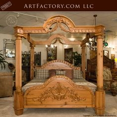 Custom Hand Carved Canopy Bed: Fine Art Designs By H. Nick - the finest quality furniture available anywhere at any price Custom Bed, Wood Bed Design, Wooden Bedroom Furniture, Custom Bedroom Furniture, Bed Design, Furniture Design Wooden, Canopy Bed, Wood Carving Furniture, Luxurious Bedrooms