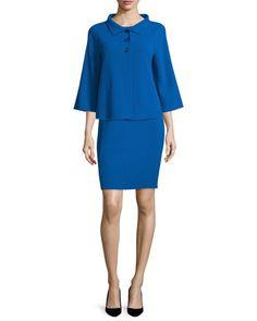 3/4-Sleeve Three-Button Jacket & Sleeveless Round-Neck Sheath Dress by Armani Collezioni at Neiman Marcus.
