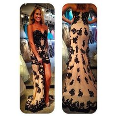 2015 Promotion Sexy Sweetheart Black Lace/Appliqued Evening Party Gown Sexy Peacock Short Front Long Back Prom Dresses 2014