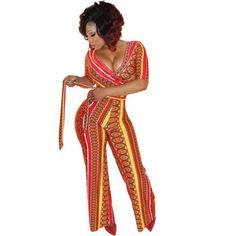 Sexy Skintight Bodysuit Women Africa Printing Elegant Jumpsuit Romper Women Bodysuit Top Pants Long Jumpsuits Women