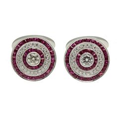 Art Deco Style 18K White Gold Diamond and Ruby Cufflinks