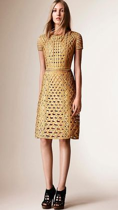 Burberry cage shift dress in metallic macramé tape. Discover the women's dresses collection at Burberry.com