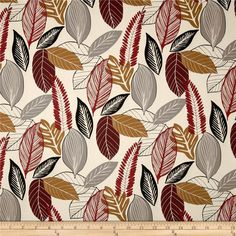 Screen printed on cotton duck; this versatile medium weight fabric is perfect for window accents (draperies, valances, curtains and swags), accent pillows, duvet covers and upholstery. Create handbags, tote bags, aprons and more. Colors include wine, grey, black, red, ochre and natural.