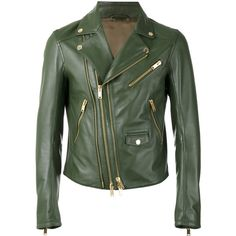 Les Hommes biker jacket (2,530 CAD) ❤ liked on Polyvore featuring men's fashion, men's clothing, men's outerwear, men's jackets, green, mens green leather jacket, mens leather moto jacket, mens leather motorcycle jacket, mens leather jackets and mens green jacket