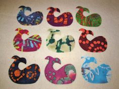 Set of 9 Batik Tie Dye Beach Whale  Iron-on Clothing Quilting & Fabric Appliques