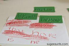 Sugar Aunts: Sight Word Crayon Rubbing Activity