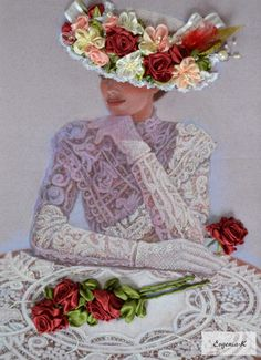 A beautiful romantic lady sits at a table with roses in her Victorian style fashion hat and lace dress. Original pastel portrait painting by Sue Halstenberg. Vintage Prints, Vintage Art, Vintage Ladies, Vintage Dress, Images Vintage, Vintage Pictures, Victorian Art, Victorian Women, Victorian Fashion