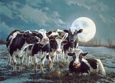 The barnyard and fields are brilliantly lit by the moon on a wonderful winter night when the air is especially crisp and clear  - Painting by Bonnie Marris