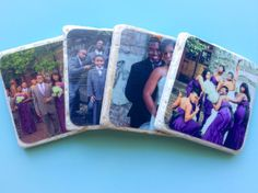 Custom Photo Coasters Set of 4 or more. by PhotoJeNNicCreations, $17.00. A great way to display those engagement, wedding, or baby photos. Makes a useful and unique gift for any occasion such as an Anniversary, Wedding, Housewarming, Shower, New Baby, Holiday, Favors, Grandparents, Mother's Day, Valentine's Day