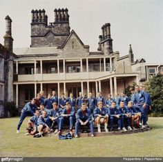 England's World Cup squad and staff pose together outside the National Recreation Centre at Lilleshall, June 1966