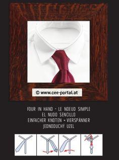 FOUR IN HAND ~ LE NOEUD SIMPLE EL NUDO SENCILLO EINFACHER KNOTEN × VIERSPÄNNER JEDNODUCHÝ UZEL Tie Knots, Simple, Knots, Hair Bow, Kunst, Pictures
