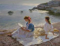Saying goodbye to the day. Alexander Averin (Russian, 1952-). (reading at the beach)