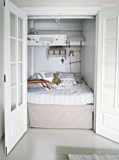 Bed-in-a-closet...I would completley love a bed  in a closet. It would make me feel safe.